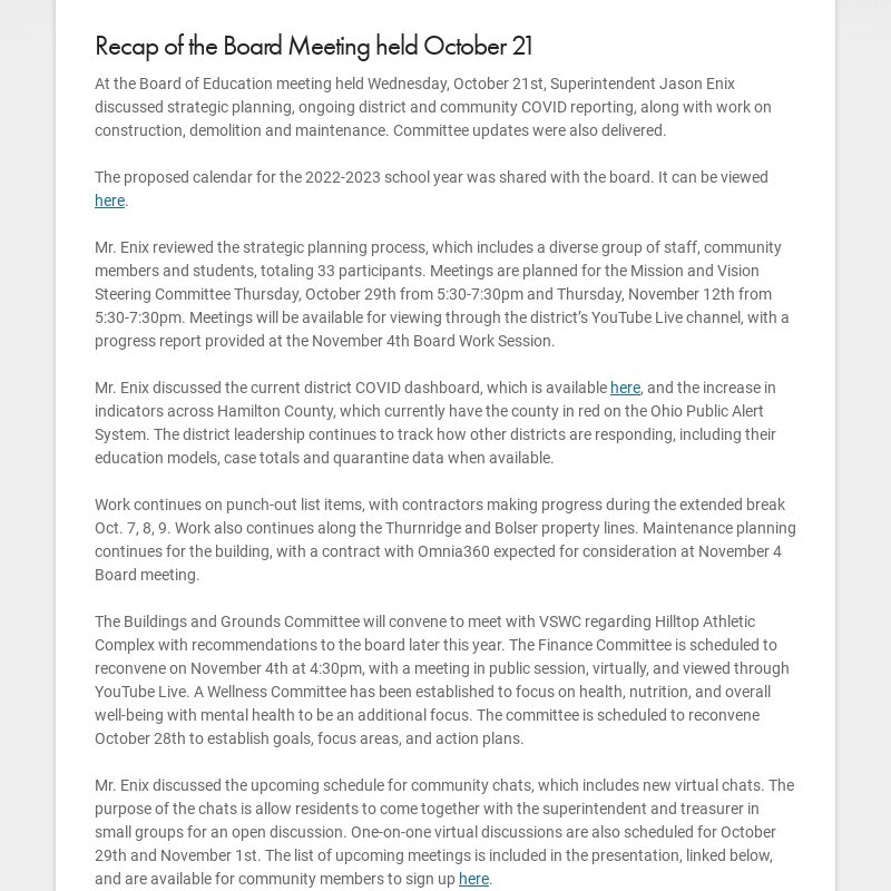 Recap of the Board Meeting held October 21 At the Board of Education meeting held Wednesday,...