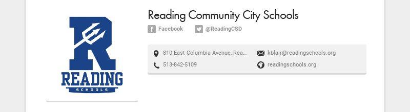Reading Community City Schools Facebook @ReadingCSD 810 East Columbia Avenue, Reading, OH, USA...