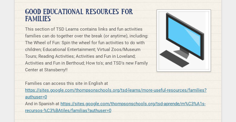 GOOD EDUCATIONAL RESOURCES FOR FAMILIES This section of TSD Learns contains links and fun...