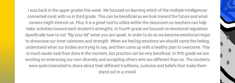 I was back in the upper grades this week. We focused on learning which of the multiple...