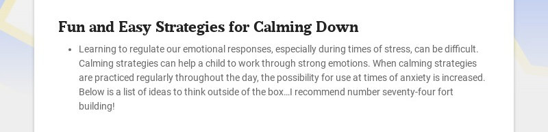 Fun and Easy Strategies for Calming Down Learning to regulate our emotional responses, especially...