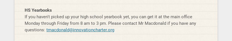 HS Yearbooks If you haven't picked up your high school yearbook yet, you can get it at the main...