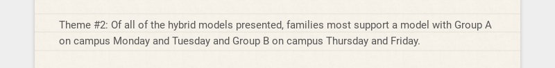 Theme #2: Of all of the hybrid models presented, families most support a model with Group A on...