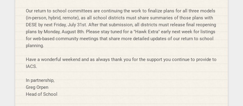 Our return to school committees are continuing the work to finalize plans for all three models...
