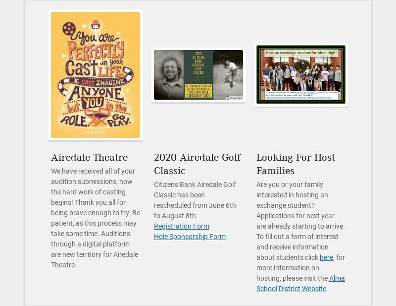 Airedale Theatre We have received all of your audition submissions, now the hard work of casting...