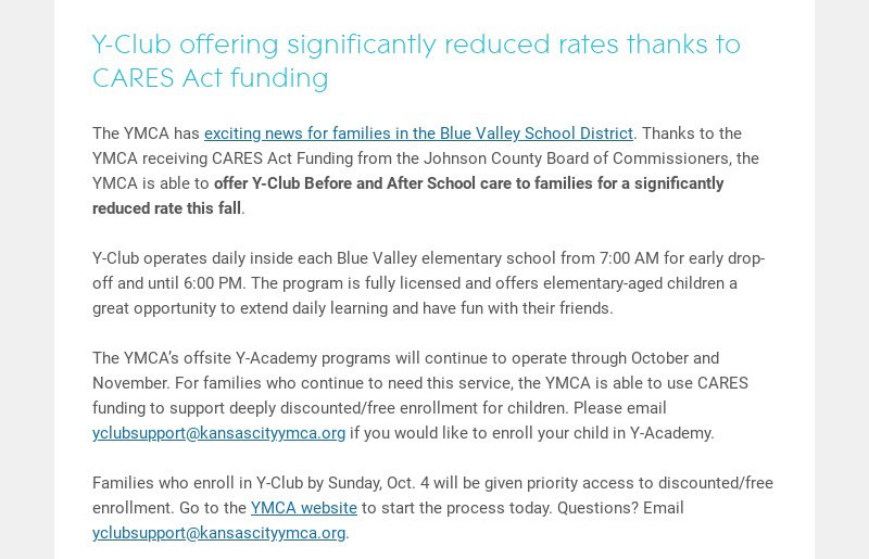 Y-Club offering significantly reduced rates thanks to CARES Act funding