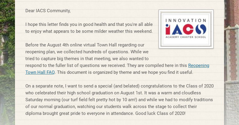 Dear IACS Community, I hope this letter finds you in good health and that you're all able to...