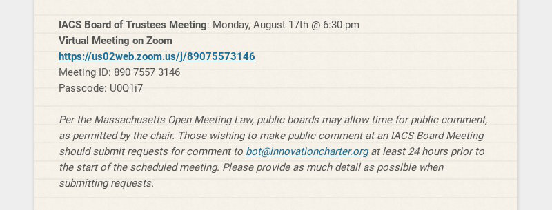 IACS Board of Trustees Meeting: Monday, August 17th @ 6:30 pm Virtual Meeting on Zoom...