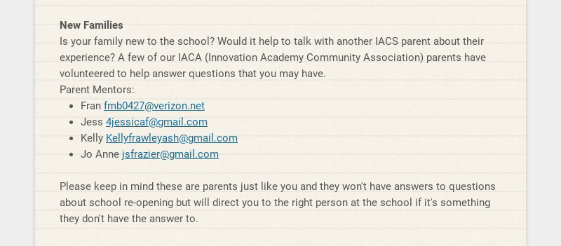 New Families Is your family new to the school? Would it help to talk with another IACS parent...