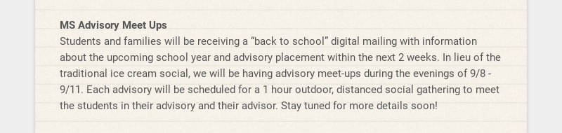 "MS Advisory Meet Ups Students and families will be receiving a ""back to school"" digital mailing..."