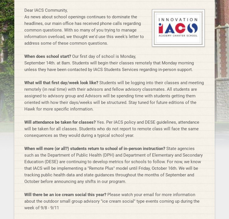 Dear IACS Community, As news about school openings continues to dominate the headlines, our main...