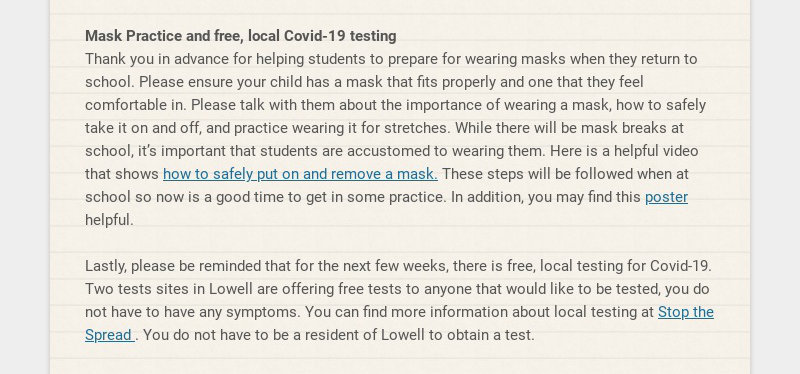Mask Practice and free, local Covid-19 testing Thank you in advance for helping students to...