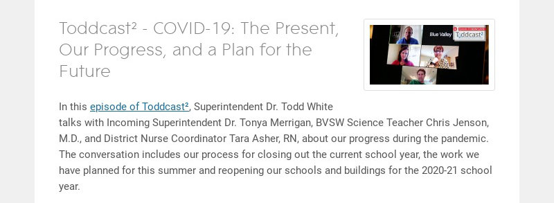 Toddcast² - COVID-19: The Present, Our Progress, and a Plan for the Future In this episode of...