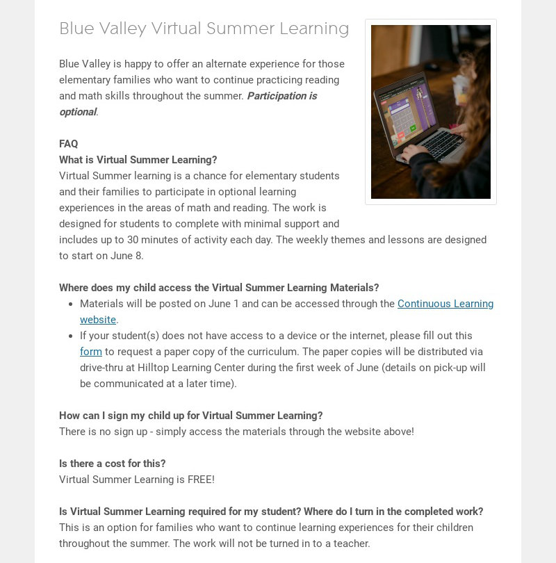 Blue Valley Virtual Summer Learning Blue Valley is happy to offer an alternate experience for...