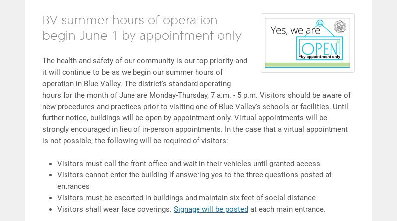 BV summer hours of operation begin June 1 by appointment only The health and safety of our...