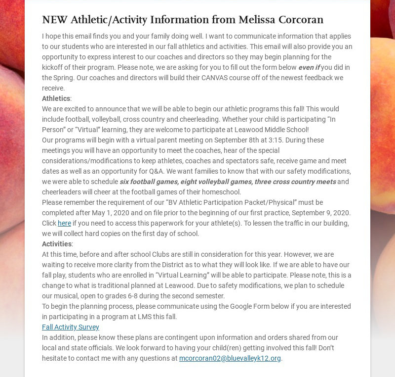 NEW Athletic/Activity Information from Melissa Corcoran