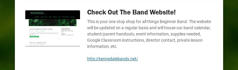 Check Out The Band Website! This is your one stop shop for all things Beginner Band. The website...