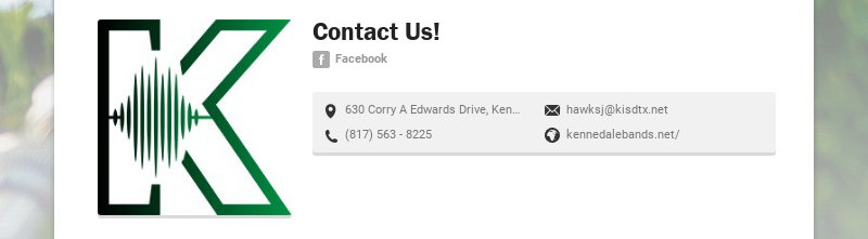 Contact Us! Facebook 630 Corry A Edwards Drive, Kennedale, TX, USA hawksj@kisdtx.net (817) 563 -...