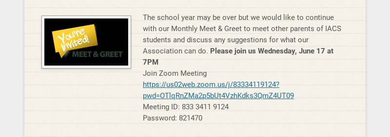 The school year may be over but we would like to continue with our Monthly Meet & Greet to meet...