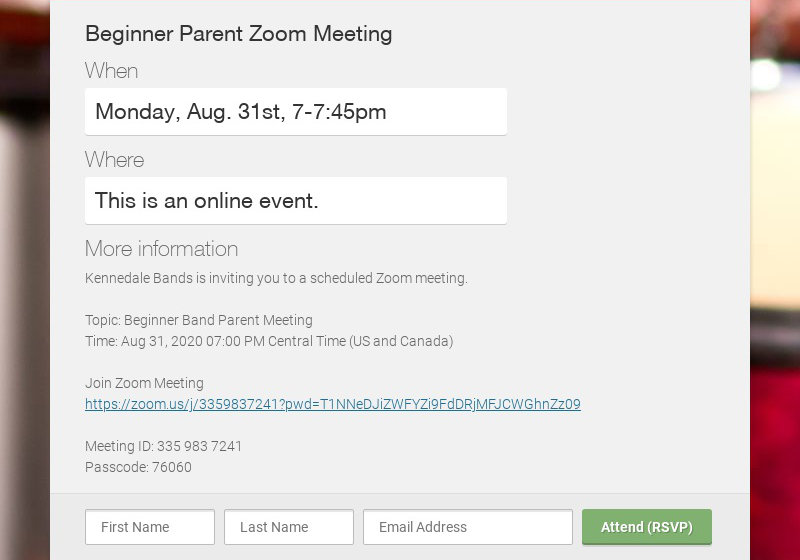 Beginner Parent Zoom Meeting When Monday, Aug. 31st, 7-7:45pm Where This is an online event. More...