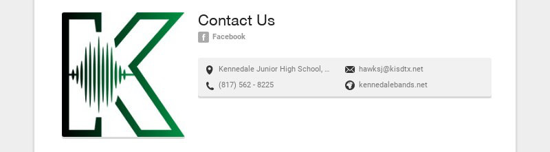 Contact Us Facebook Kennedale Junior High School, Corry A Edwards Drive, Kennedale, TX, USA...