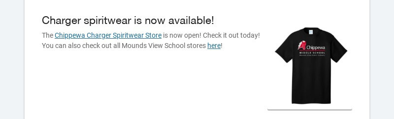 Charger spiritwear is now available! The Chippewa Charger Spiritwear Store is now open! Check it...