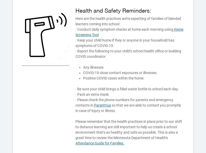 Health and Safety Reminders: Here are the health practices we're expecting of families of blended...