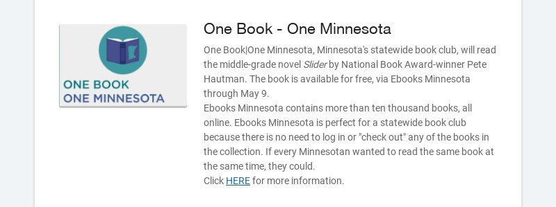 One Book - One Minnesota One Book|One Minnesota, Minnesota's statewide book club, will read the...