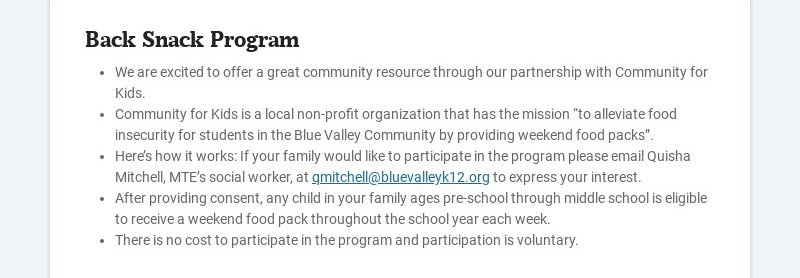 Back Snack Program We are excited to offer a great community resource through our partnership...