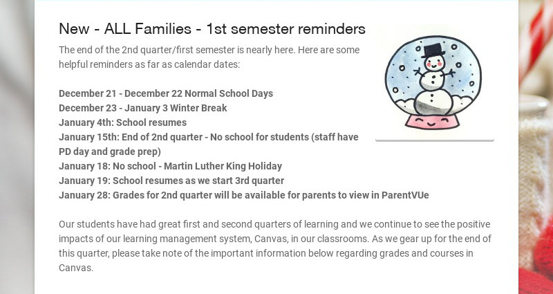 New - ALL Families - 1st semester reminders