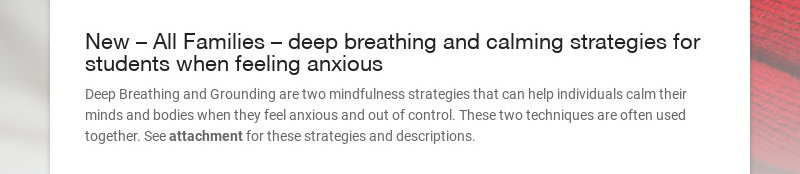 New – All Families – deep breathing and calming strategies for students when feeling anxious