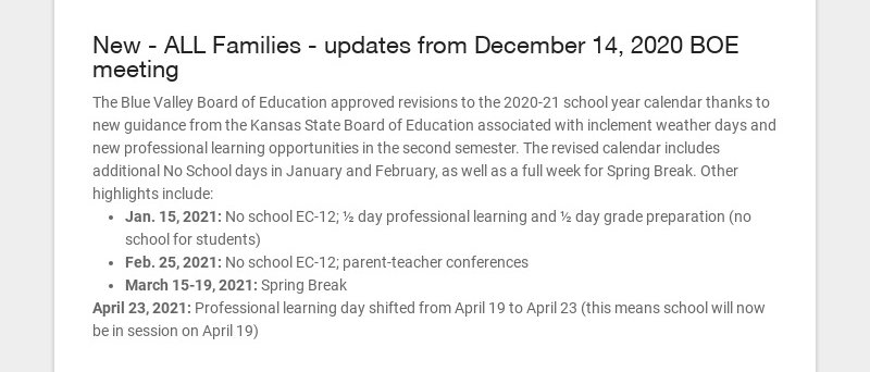 New - ALL Families - updates from December 14, 2020 BOE meeting