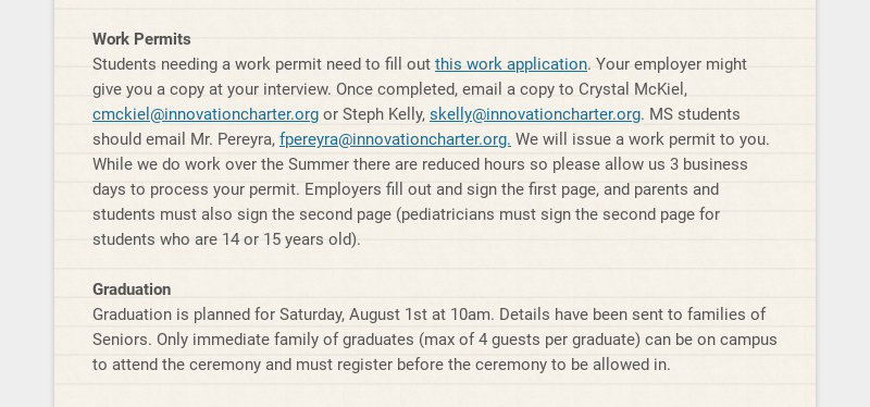 Work Permits Students needing a work permit need to fill out this work application. Your employer...