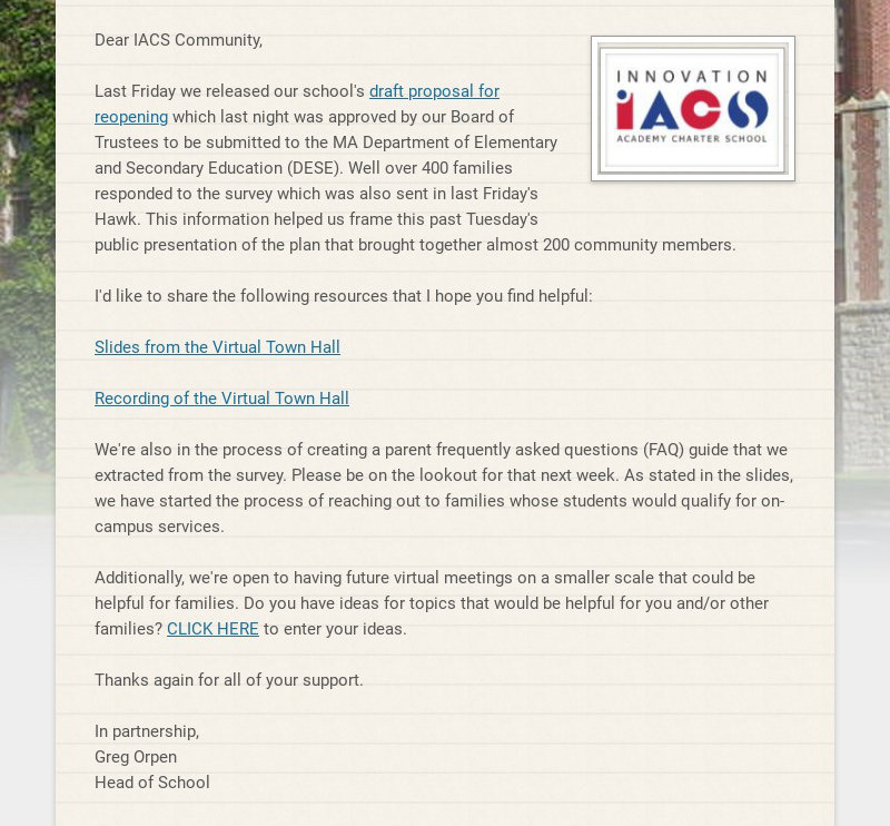 Dear IACS Community, Last Friday we released our school's draft proposal for reopening which...