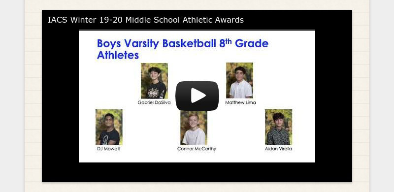 IACS Winter 19-20 Middle School Athletic Awards