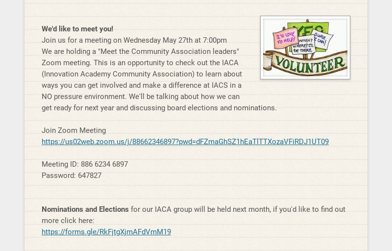 We'd like to meet you! Join us for a meeting on Wednesday May 27th at 7:00pm We are holding a...