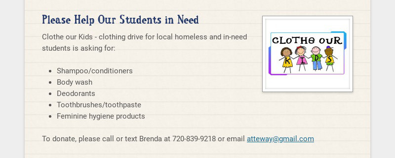 Please Help Our Students in Need Clothe our Kids - clothing drive for local homeless and in-need...