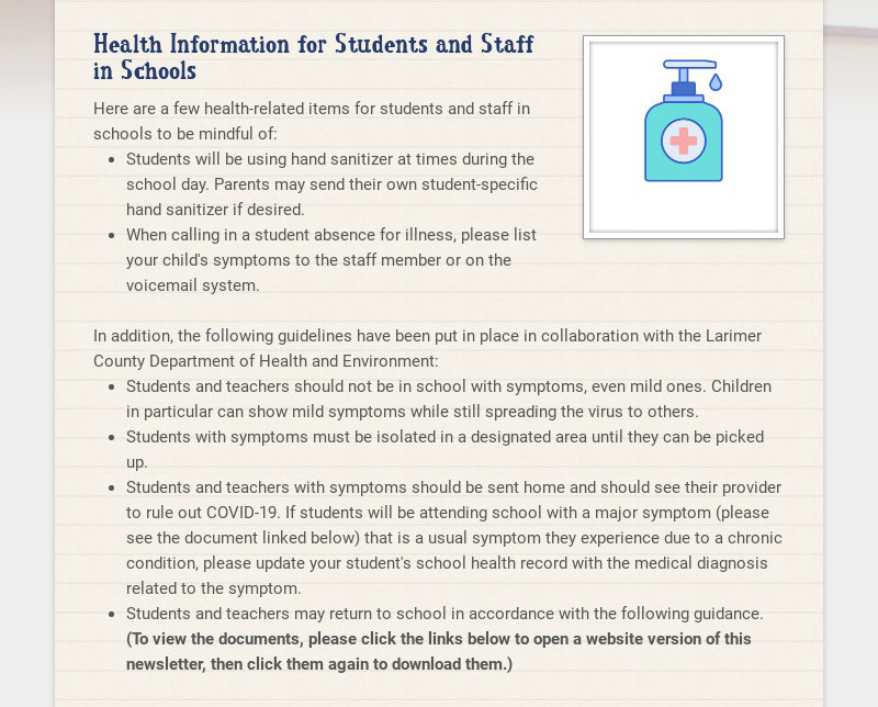 Health Information for Students and Staff in Schools Here are a few health-related items for...