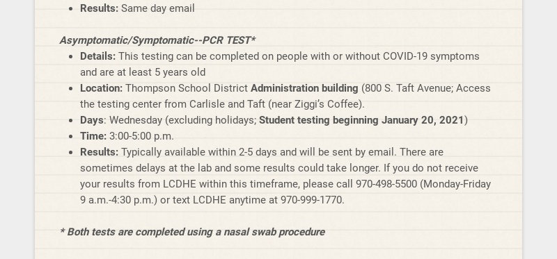 Thompson School District COVID-19 Testing for Staff and Students How do I get tested for...