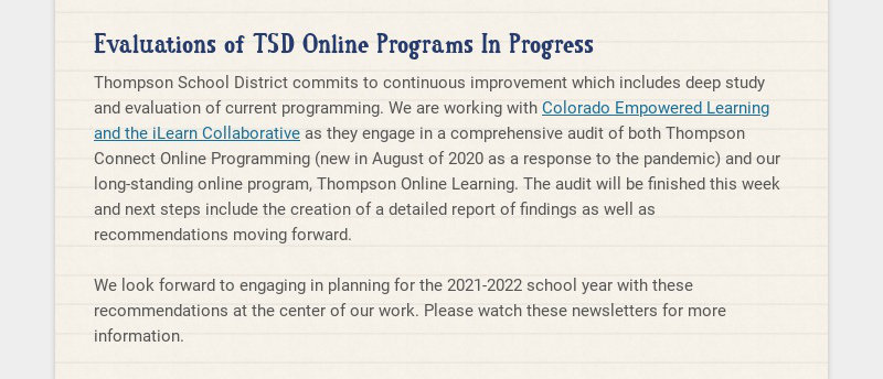 Evaluations of TSD Online Programs In Progress Thompson School District commits to continuous...