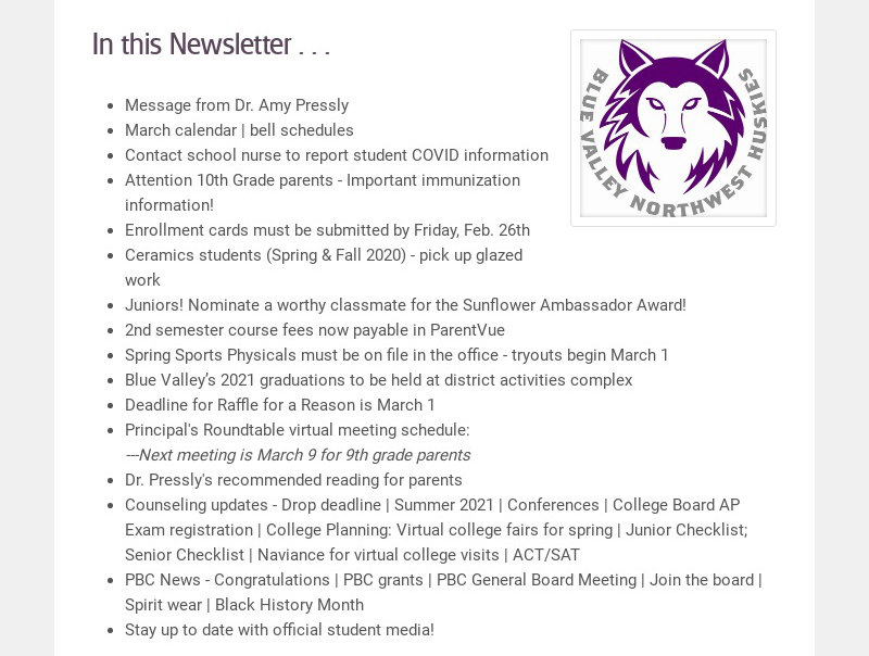 In this Newsletter . . . Message from Dr. Amy Pressly March calendar | bell schedules Contact...