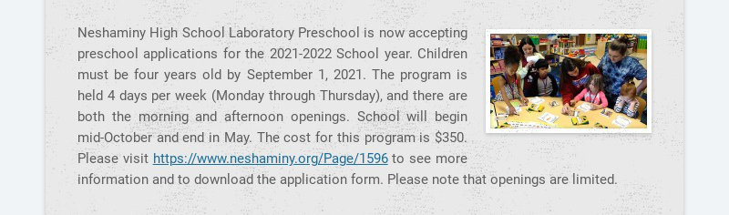 Neshaminy High School Laboratory Preschool is now accepting preschool applications for the...