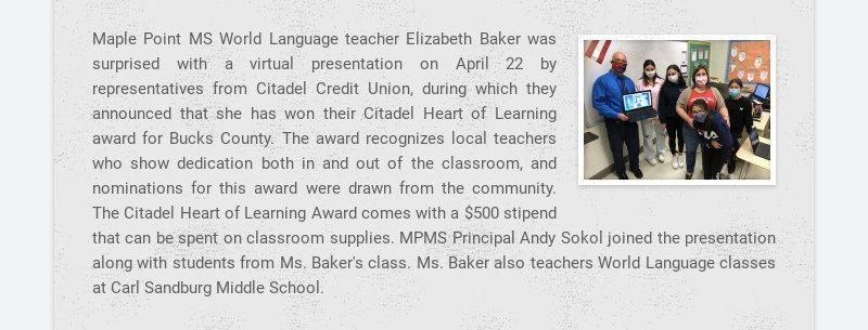 Maple Point MS World Language teacher Elizabeth Baker was surprised with a virtual presentation...