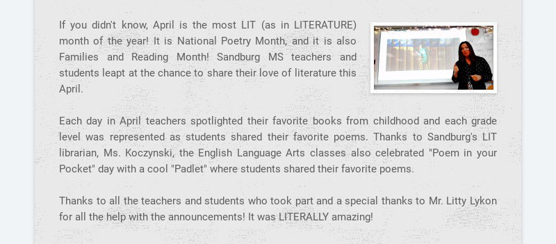 If you didn't know, April is the most LIT (as in LITERATURE) month of the year! It is National...