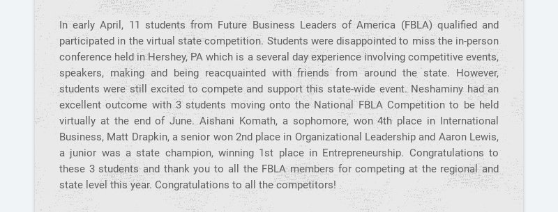 In early April, 11 students from Future Business Leaders of America (FBLA) qualified and...