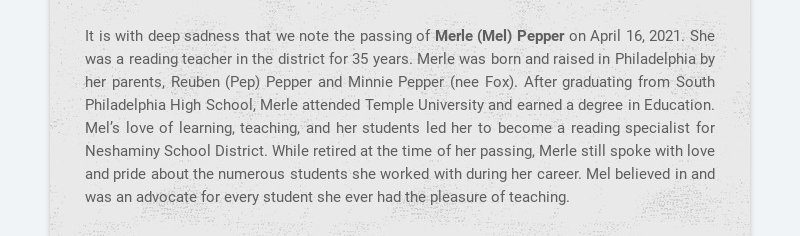 It is with deep sadness that we note the passing of Merle (Mel) Pepper on April 16, 2021. She was...