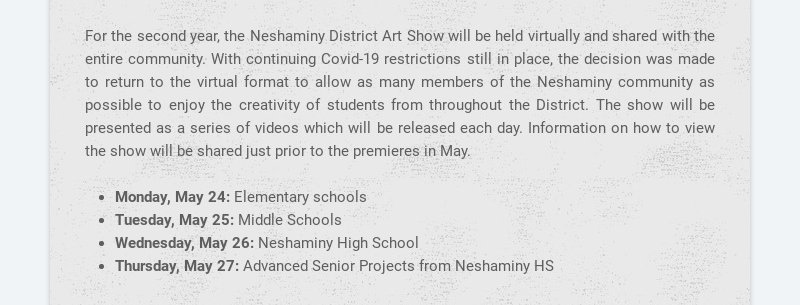 For the second year, the Neshaminy District Art Show will be held virtually and shared with the...