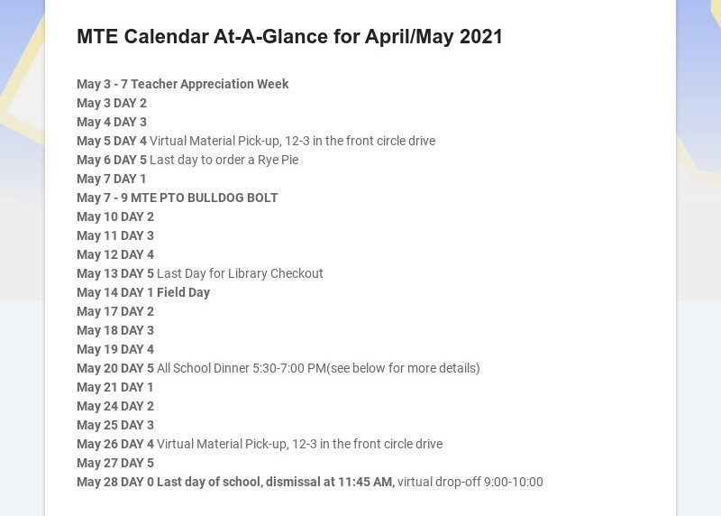 MTE Calendar At-A-Glance for April/May 2021
