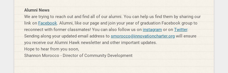 Alumni News We are trying to reach out and find all of our alumni. You can help us find them by...