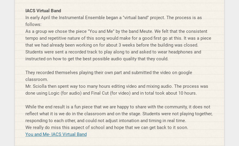 """IACS Virtual Band In early April the Instrumental Ensemble began a """"virtual band"""" project. The..."""